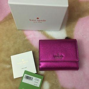 Metallic pink wallet kate spade